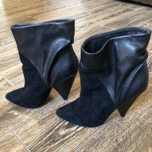 Steve Madden Black Leather & Suede Ankle Boots